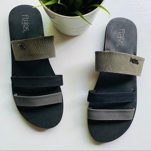 FLOJOS 3 Strap Gray & Black Sandals Women's 11
